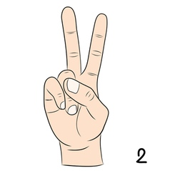 Sign language number 2 vector