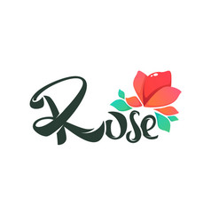 simple line art doodle rose flower logo with vector image