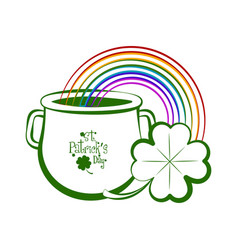 sketch of a pot with rainbow and clover vector image