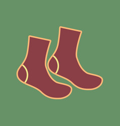 Socks sign cordovan icon and mellow vector