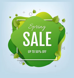 Spring sale speech bubble banner with leaves vector