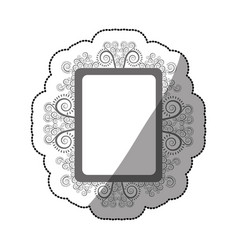Sticker gray scale square vintage baroque frame vector