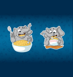 Stickers elephanthe eats porridge with a spoon vector