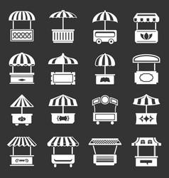 Street food kiosk icons set grey vector