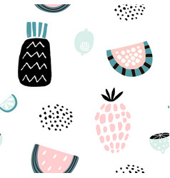 summer pattern with creative fruits pineapple vector image