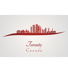 Toronto V2 skyline in red vector image