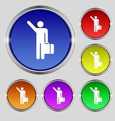 Tourist icon sign Round symbol on bright colourful vector