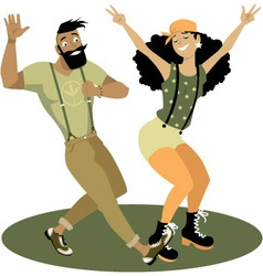 Trendy couple dancing vector image