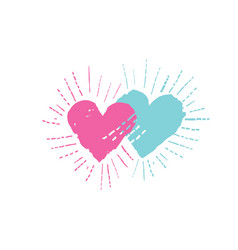 two hearts with shining beams love sign vector image
