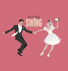 wedding dance bride and groom dancing swing lindy vector image