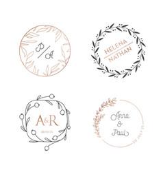 wedding wreaths circle laurels logos vintage vector image