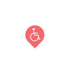 wheelchair point logo icon design vector image