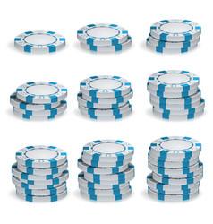 white poker chips stacks 3d set plastic vector image