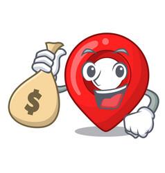 With money bag gps navigation pin on character vector