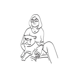 Woman with glasses hugging bulldog vector
