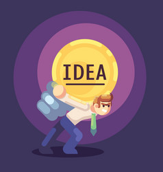 Young businessman with business idea light bulb on vector