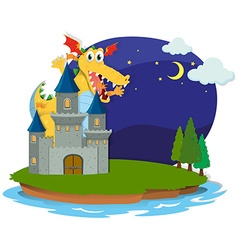 Castle and dragon on the island vector image