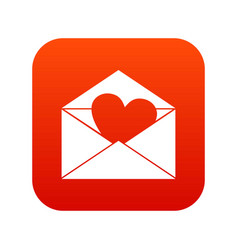 envelope with valentine heart icon digital red vector image vector image