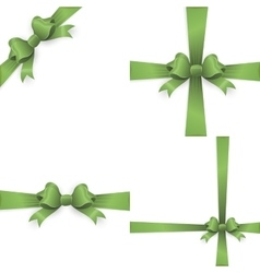 Green ribbon bow isolated on white EPS 10 vector image vector image