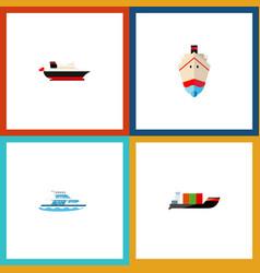 Icon flat ship set of cargo shipping transport vector