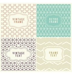 Retro Mono Line Frames with place for Text vector image vector image