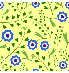 Yellow Pattern with blue Flowers and Grass vector image