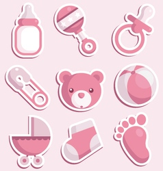 baby shower pink icons vector image vector image