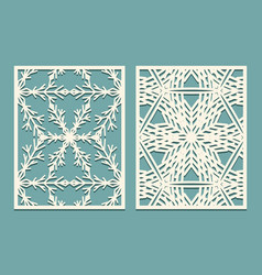 die and laser cut decorative panels with vector image vector image
