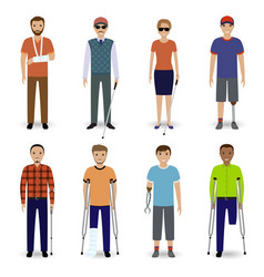 group of eight different kind disability people vector image vector image