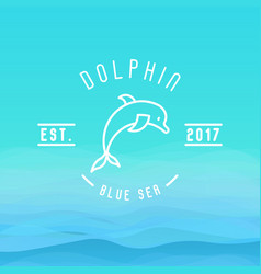 logo with thin line icon of dolphin jumping vector image vector image