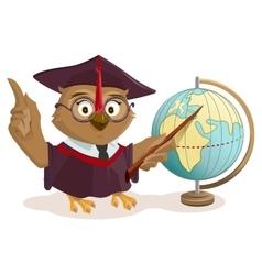Owl teacher and globe vector image vector image