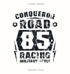 Car racing badge with texture vector