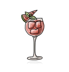 Cocktail with watermelon sketch for your design vector image vector image