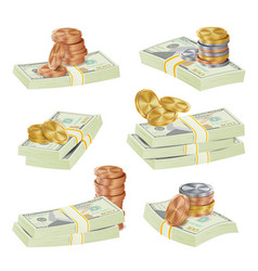 dollar stacks gold coins and money vector image