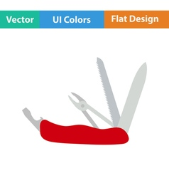 Flat design icon of folding penknife vector image