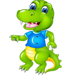 funny crocodile cartoon dancing with smile vector image