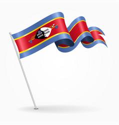 swaziland pin wavy flag vector image vector image