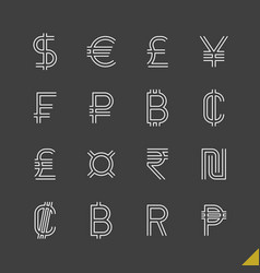 thin linear world currency symbols icons set with vector image
