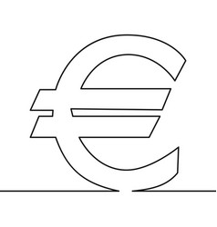 Continuous line drawing of euro sign vector