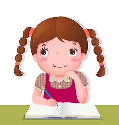 Cute girl thinking while working on her school vector image