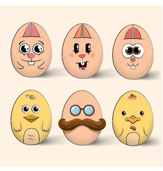 Easter egg characters vector image vector image