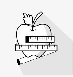Flat line delicious apple fruit and meter vector
