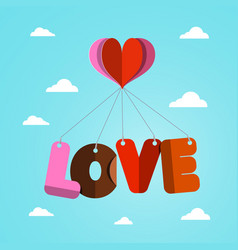 love and heart paper cut symbols flying on blue vector image vector image