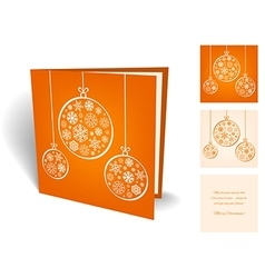 Orange christmas greeting card with balls from vector image