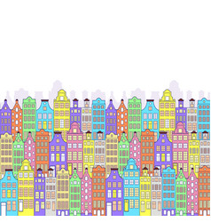 pattern with colorful building vector image
