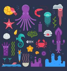 sea invertebrates and exotic underwater creatures vector image vector image