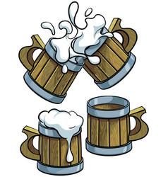 set of wooden beer mugs vector image vector image