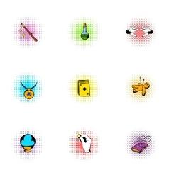 Tricks icons set pop-art style vector image vector image