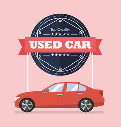 used car with banner vector image vector image