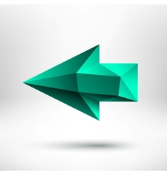 3d Green Left Arrow Sign with Light Background vector image
